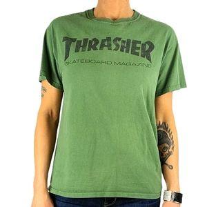 Thrasher Skate Tee Shirt Size Medium Green Cotton